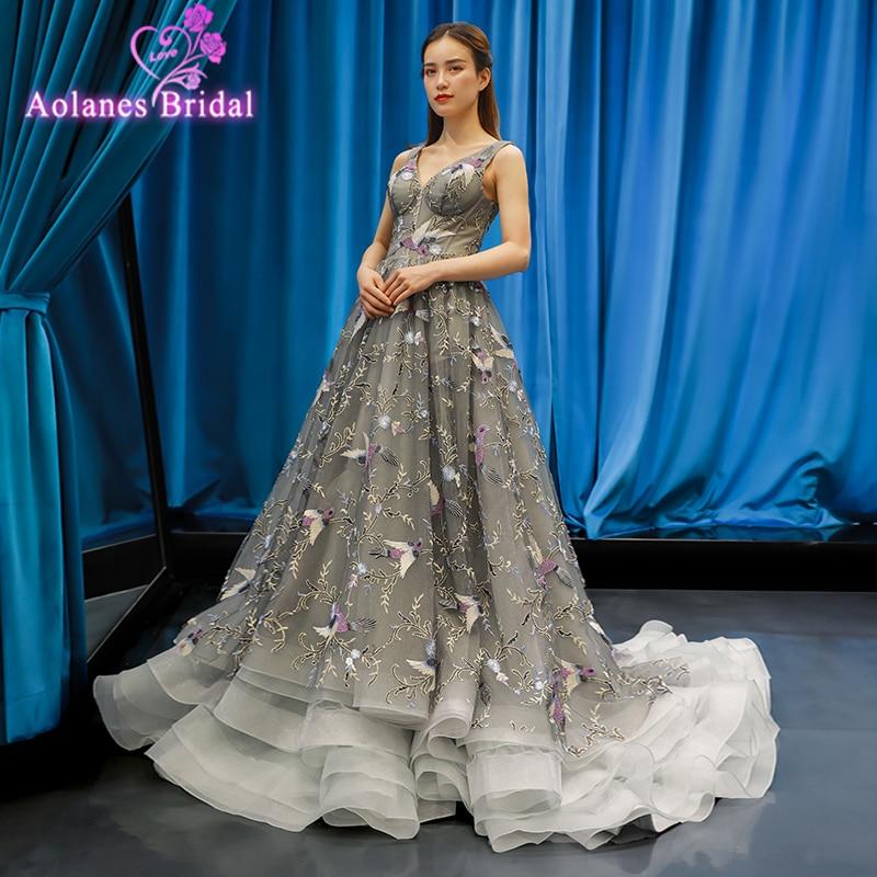 Floral Prom Dresses Lace Sleeves A-line Gray V Neck Empire Waist Long Evening Gowns Colors Fashion Lace Vestido De Formatura