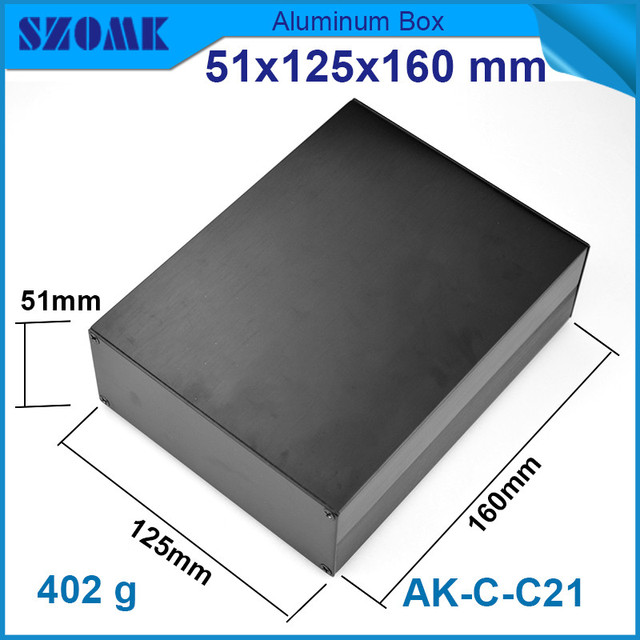 1 piece aluminum instrument case for electronic project box in black with brushed 51*125*160mm