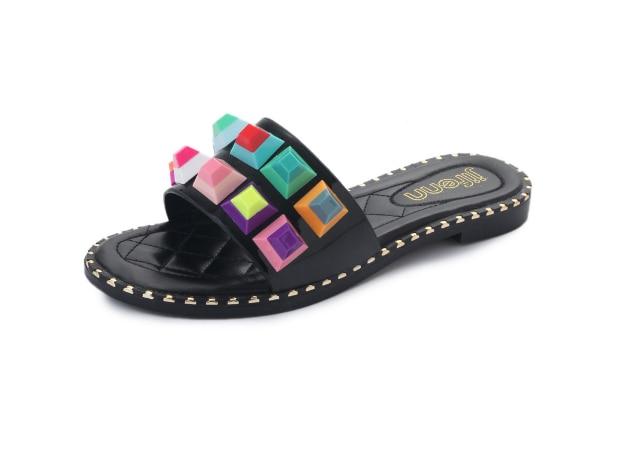 XEK phụ nữ dép mùa hè hỗn hợp đầy màu sắc giày tiếp xúc với toe mules nữ dép đi trong nhà bằng phẳng màu đen giày trắng punk phong cách GSS69