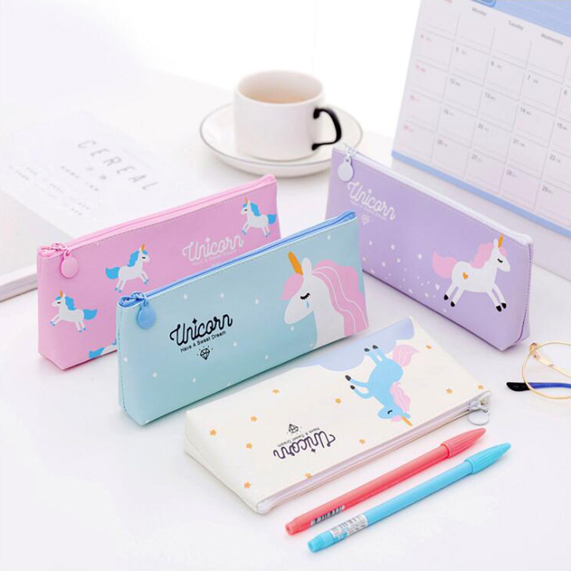 Fresh Style Unicorn Series Pencil Case Office Stationery And School Supplies High Capacity PU Material Pencil Bag 1PCS