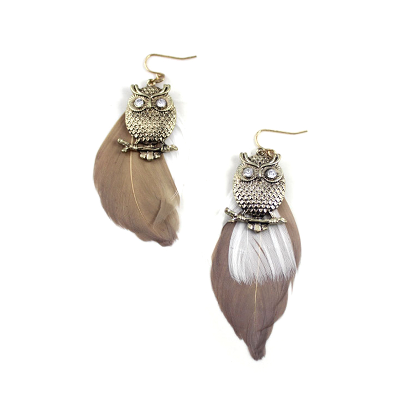 Alli Express Turkey Special Store Vintage Pending Statement Party Feather Owl Hanging Earring Earing From India