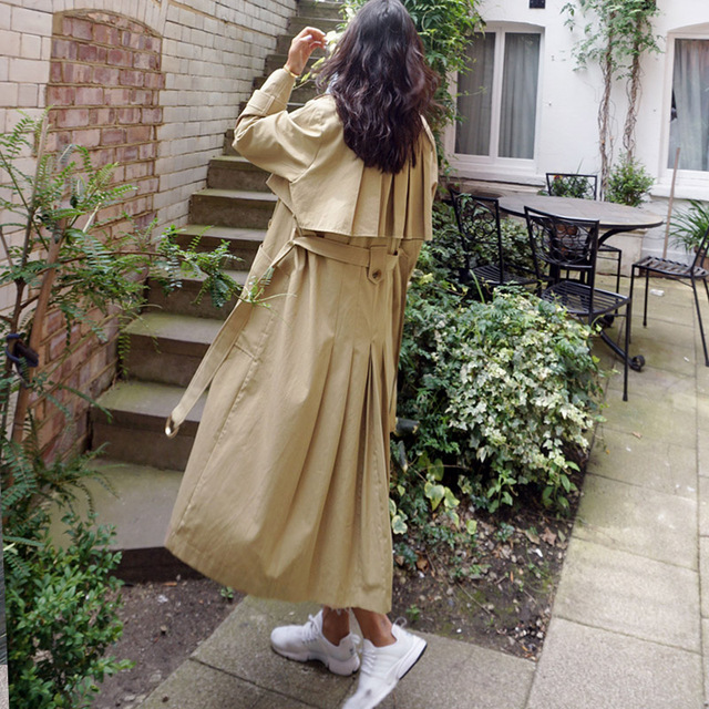 Women Trench Coat Romantic Multiple Pleating Coats Shallow Card 0526