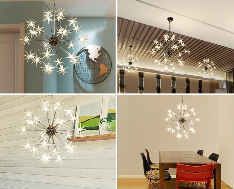 Modern Chandeliers Lamp Glass Stars Suspension Christmas Snow Light Hotel Restaurant Dinning Room Living Room Lighting - 3