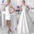 Nueva Llegada 2 en 1 Vestidos de Novia de Encaje Desmontable Falda O-cuello de Dos Piezas Una Línea de Vestidos de Novia vestido de noiva