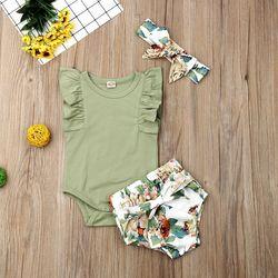 Одежда для новорожденных девочек Pudcoco, однотонный комбинезон без рукавов с оборками и цветочным принтом, короткие штаны, повязка на голову, 3...