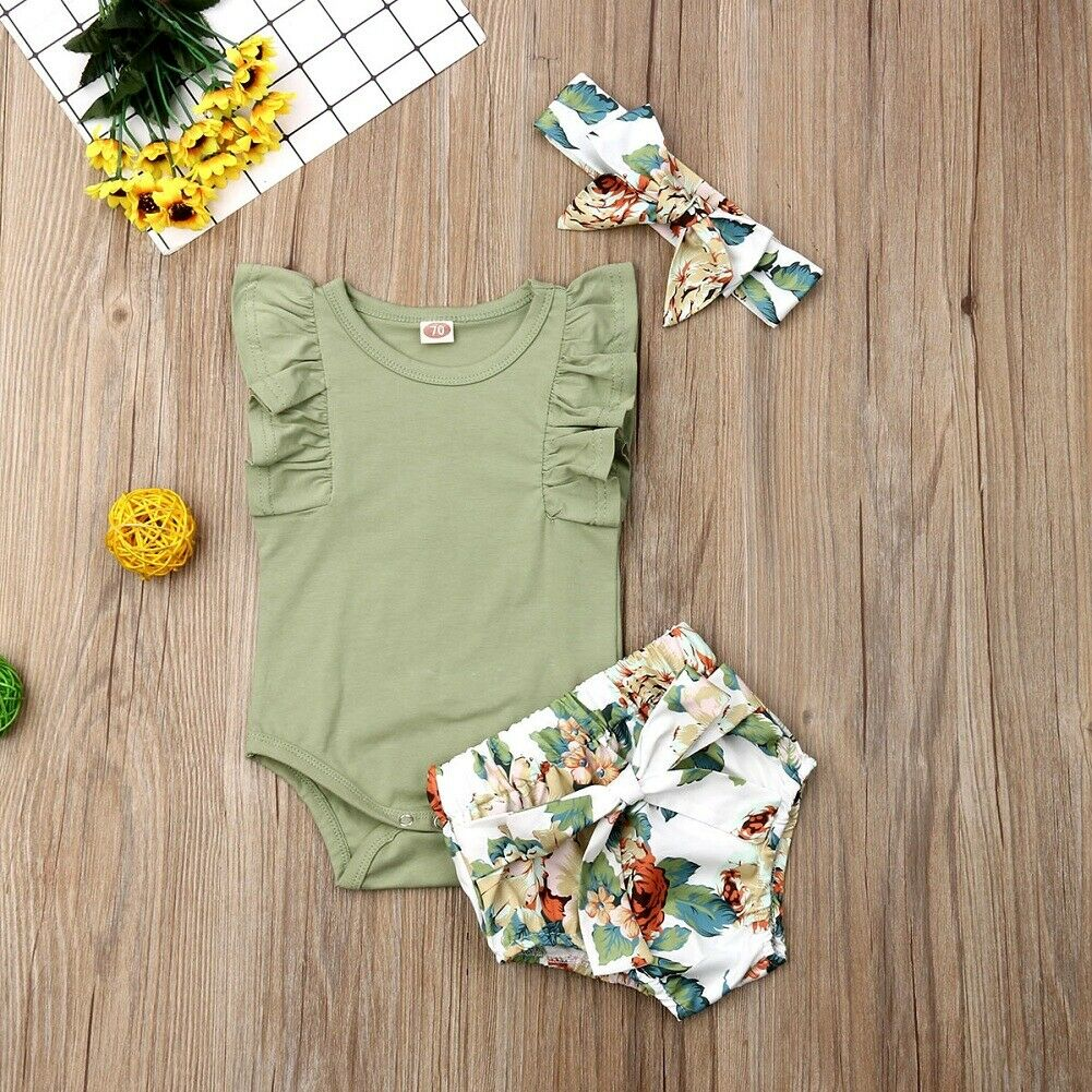 Pudcoco Newborn Baby Girl Clothes Solid Color Sleeveless Ruffle Romper Flower Print Short Pants Headband 3Pcs Outfits Clothes