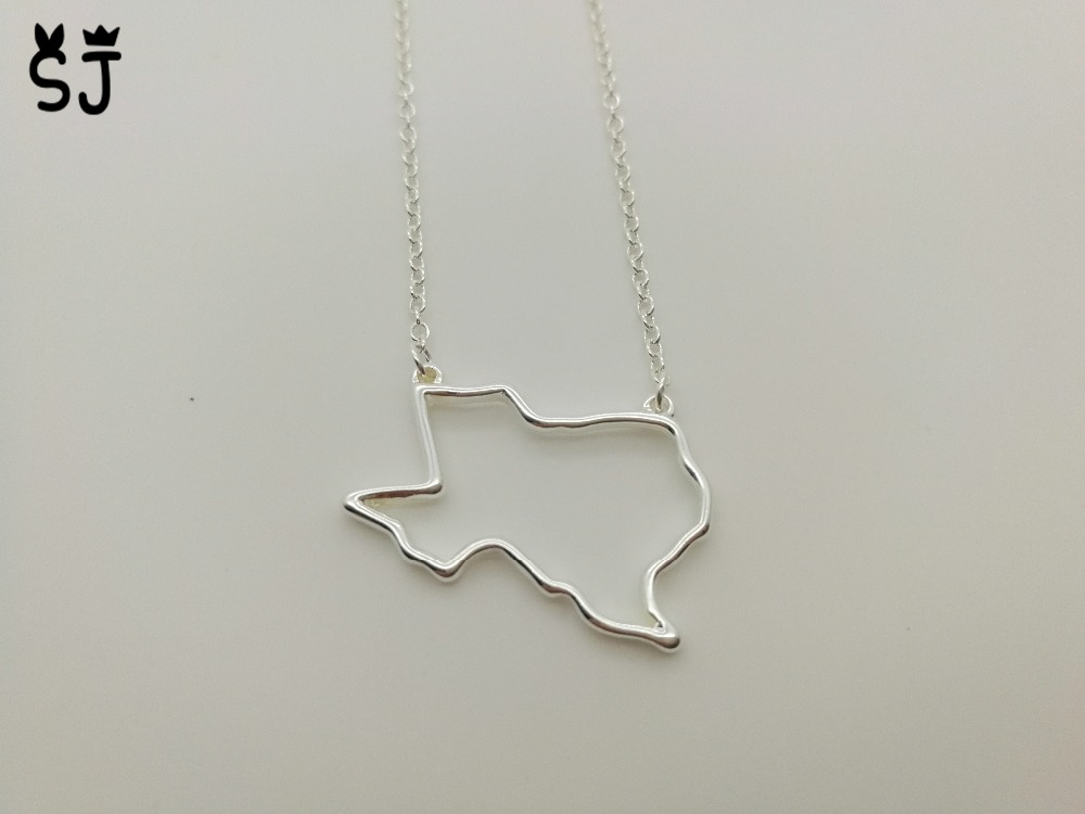 1PCS Outline Texas State Necklace American Map Necklace Charm USA TX State Necklace Simple Hollow Out Geography Necklaces