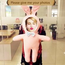 Zajistěte si fotografii vlastní Humanoid panenku polštář krásný králík Cartoon děti hračky polštáře vánoční ozdoby diy dárek narozeniny