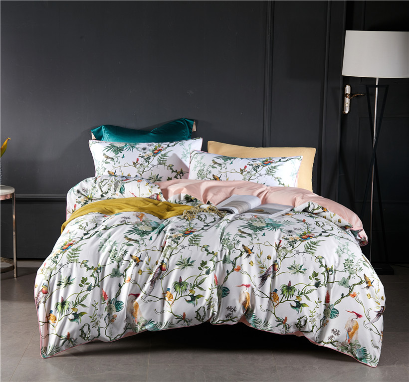Birds Floral Chinoiserie Duvet Cover Luxury Soft Silky Egyptian Cotton Bedding set Fitted Bed sheet Queen