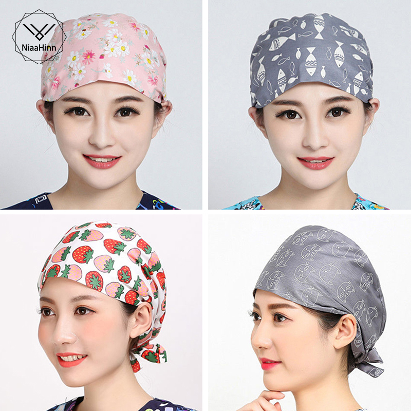 Womens Surgical Caps For Nurses Pattern Operating Room Surgery Scrub Hats Cute Cat 100% Cotton One Size Tie Tie Back Surgeon Hat
