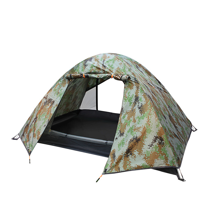 2 Person Camping Folding Tent Bed Double Layer Outdoor Beach Hiking Waterproof Windproof Travel Portable Camouflage Tente outdoor 8 12 person tunnel big beach tent single layer portable large waterproof awning camping tente family free shipping zp98