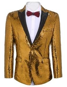 Image 5 - Traje brillante para hombre, traje con lentejuelas, chaqueta, Blazer, esmoquin de un botón para banquete fiesta de boda, baile de graduación, escenario