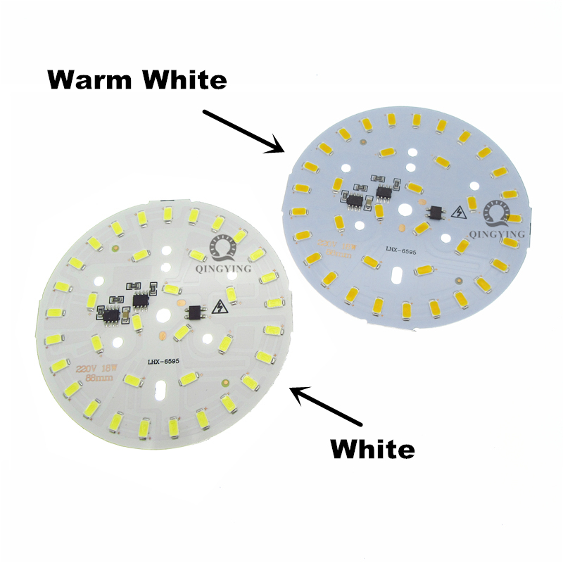 20pcs 18W 220v led pcb white warm white 5730 smd lamp plate super brightness dimmable aluminum