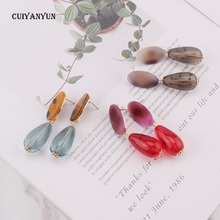 CUIYANYUN Resin multicolored water drop dangle earrings women girls pendant fashion jewelry trendy wedding party