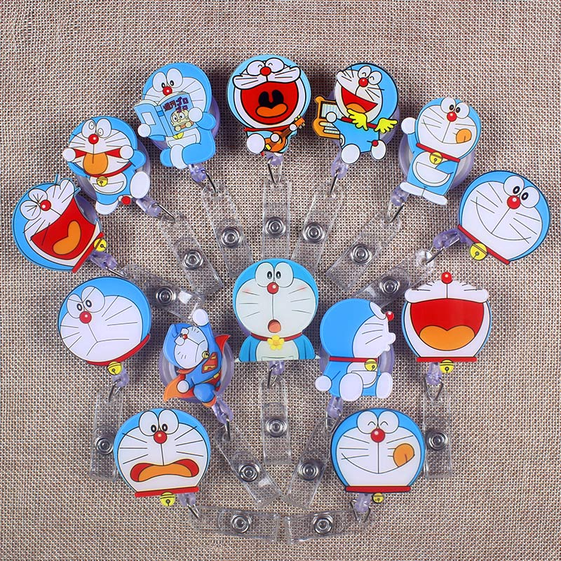 Lots Style Cute Blue Cat Retractable Creative The Badge Reel Student Nurse Exhibition Enfermera Name Card Chest PVC Card Holder