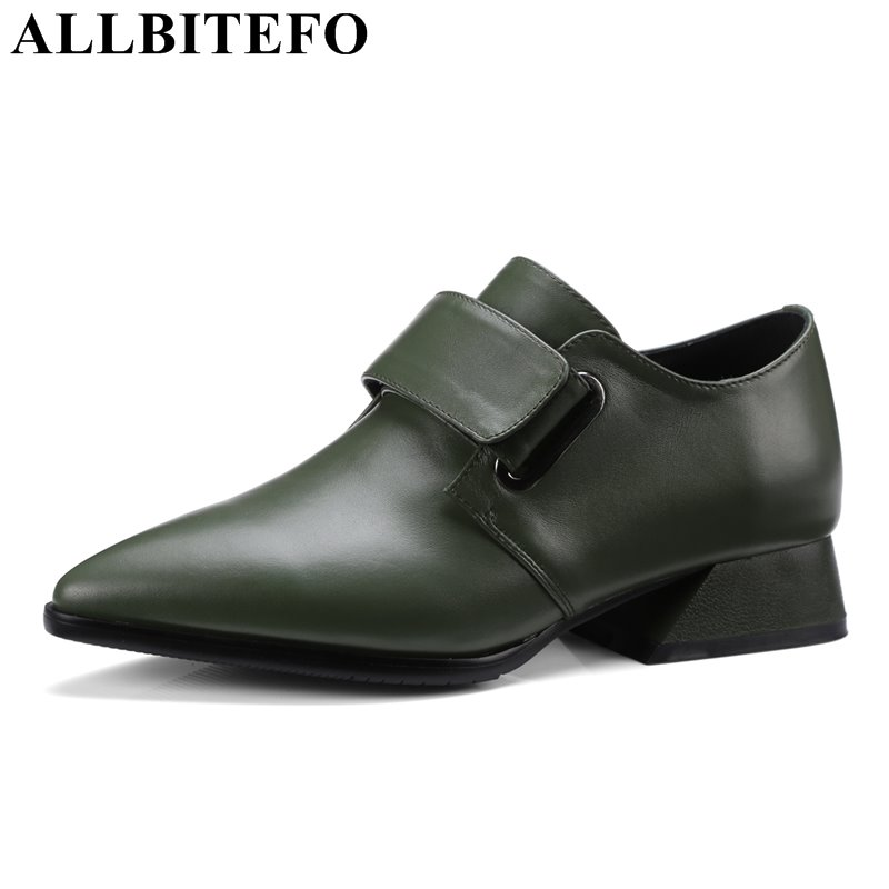 ALLBITEFO fashion casual genuine leather pointed toe thick heel women pumps medium heel high quality spring pumps girls shoes new original 516 300 s322 s4 d warranty for two year