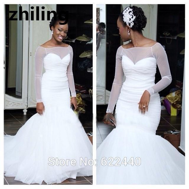 Simple And Elegant Wedding Dresses Boat Neck Three Quarter: Simple Tulle Mermaid Wedding Dresses Long Sleeves Wedding