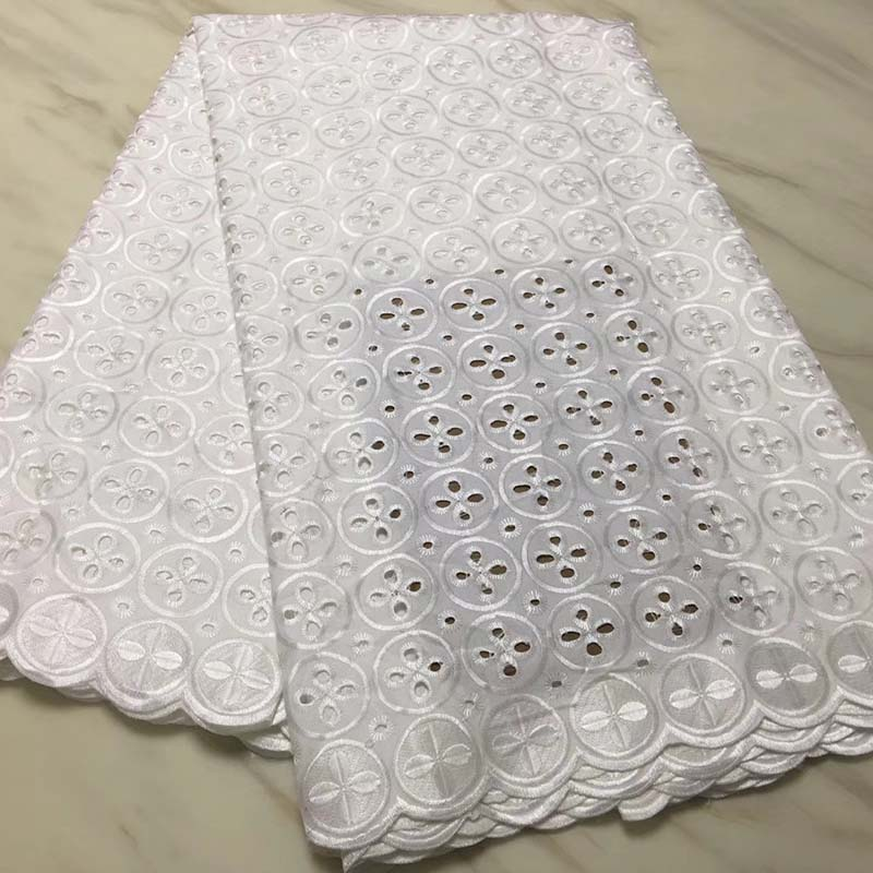 Wholesale White African Dry Lace Fabric Swiss Voile Lace High Quality Cotton 2018 African Lace Fabric