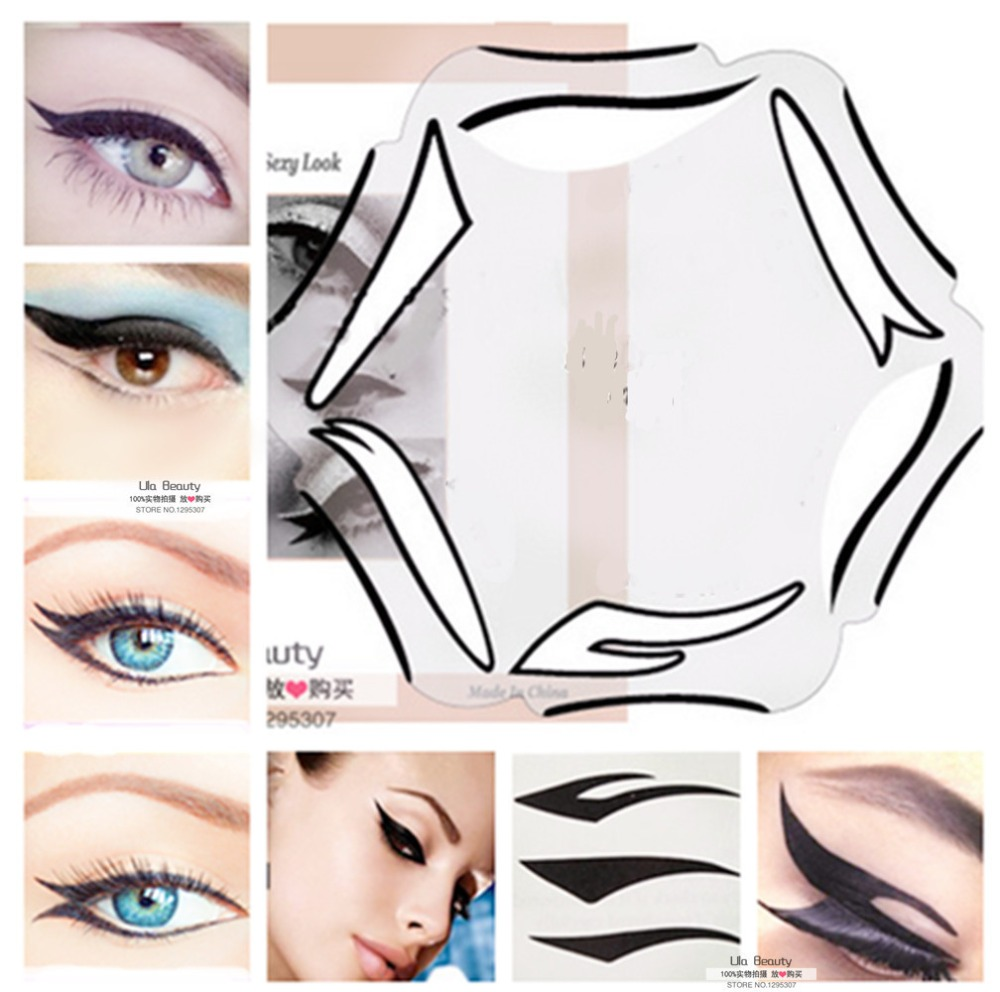 2packs eye makeup stencil 6 style eye liner makeup stencil multifunction template card fish tail. Black Bedroom Furniture Sets. Home Design Ideas