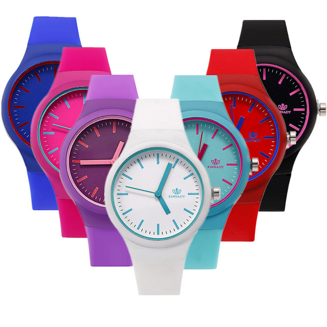 Dropshipping 2018 Casual fashion Jelly Silicone children's watch ladies quartz r