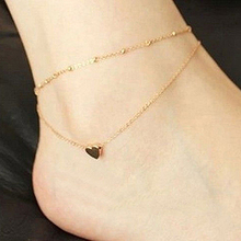 2016 Top Quality Women's Love Heart Shape Ankle Bracelet Double Layers Chain Sexy Foot Anklet  7FR6 7NTL