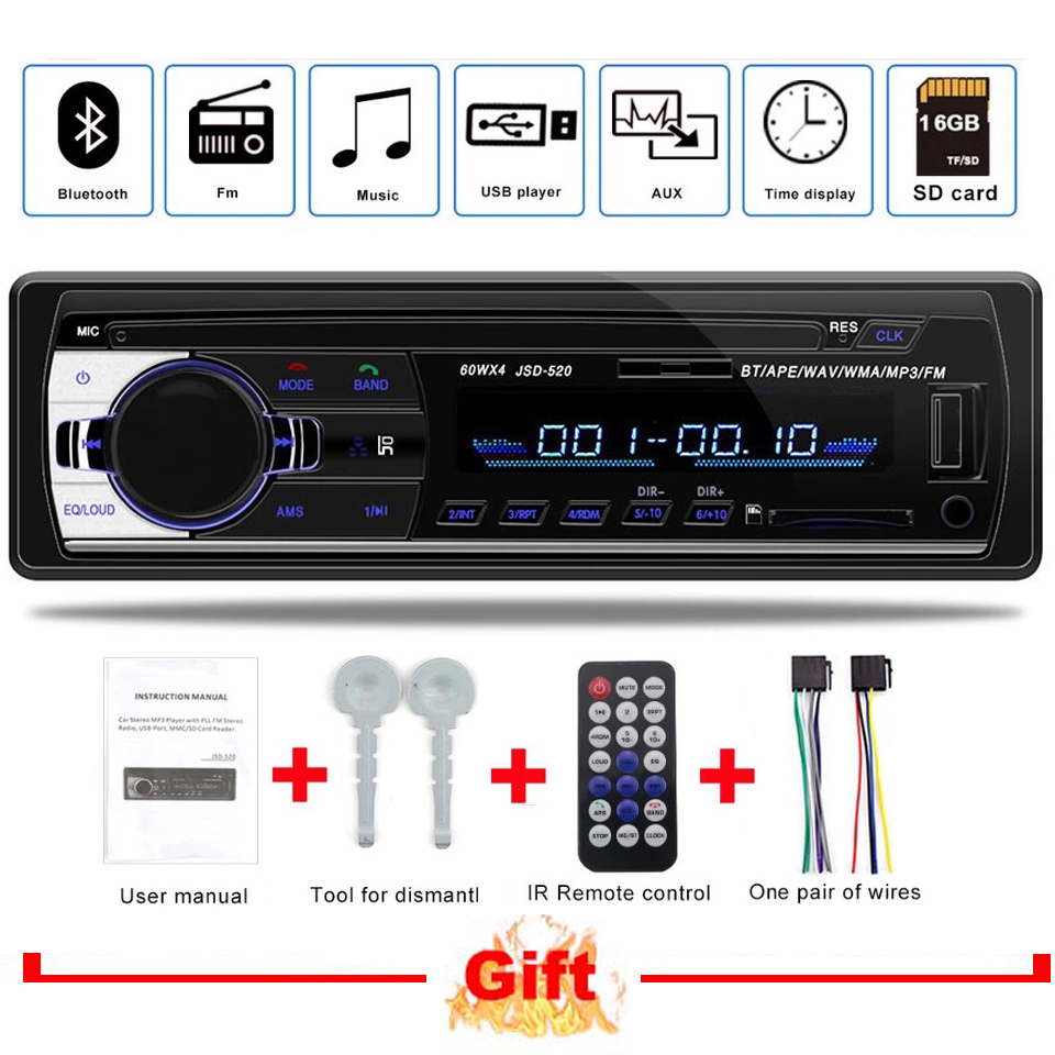 1 Din MP3 Autoradio JSD-520 auto Stereo Car Radio 12v bluetooth V2.0 FM Aux Input Receiver Car Audio SD USB MP3 MMC WMA jsd 520 image