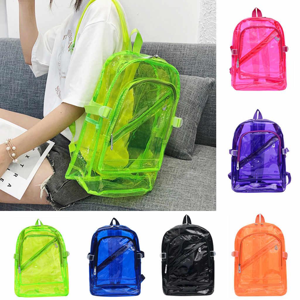 Unisex Açık şeffaf çanta Şeker Renk Su Geçirmez Sırt Çantaları Omuz okul çantası Paketleri okul çantası s genç kızlar için