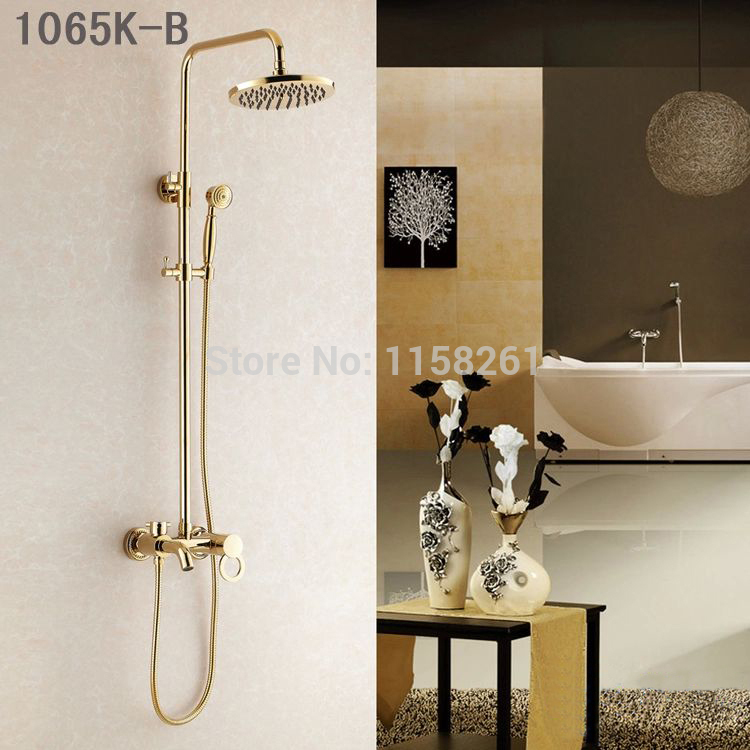 Shower Faucets Luxury Gold Brass Bathroom Shower Mixer Faucet Set Rain Shower Head Round Wall Bathtub Faucet Handheld HJ-1065K-B free shipping polished chrome finish new wall mounted waterfall bathroom bathtub handheld shower tap mixer faucet yt 5333