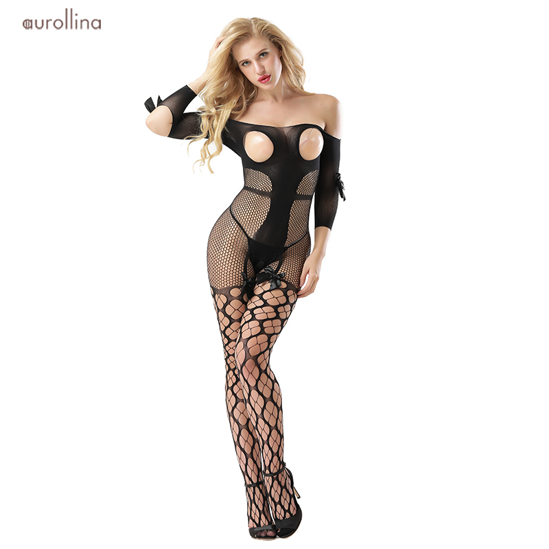 Open Crotch Long Sleeve Bodystocking Tights Lace  Bow Fishnet Mesh Grid Net Stockings Lingeries Wild Sex Tempted Woman Under Dress (2)