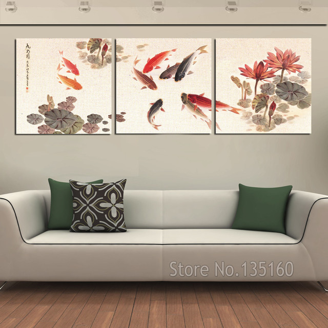 3 piece wall art picture traditional chinese calligraphy for Koi prints canvas