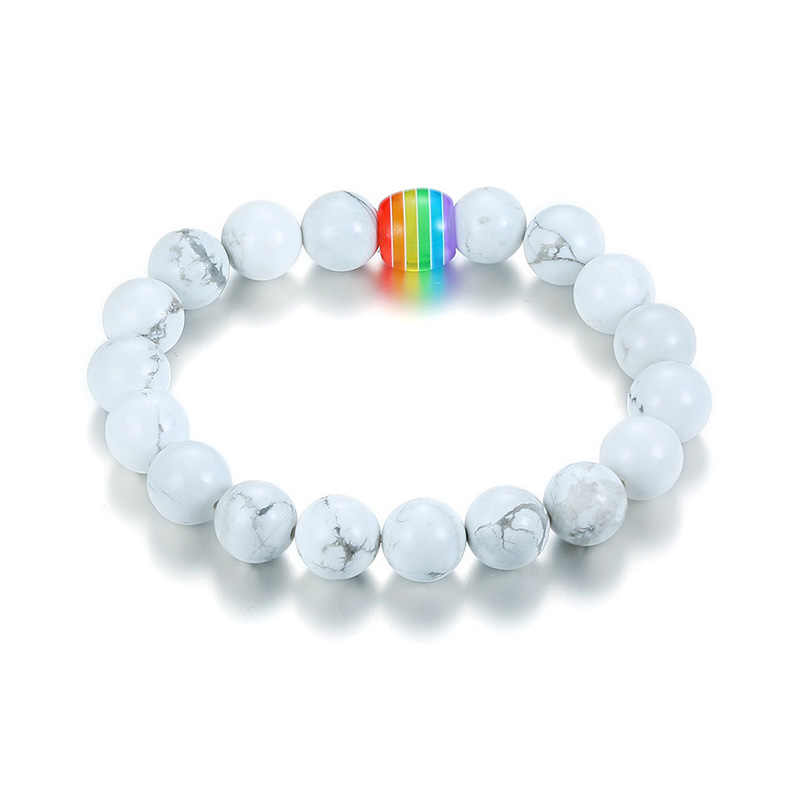 Vnox Natural Stone Beaded Bracelets for Men Women Classic Distance Bracelet White and Black Beads Best Friends Gifts