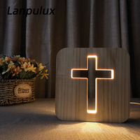 Lanpulux 3D Wooden Hollow Night Lamp Desk Literary Carving Ornaments Feet Tree Coffee Cup Cross Shape Home Decor Creative Gifts