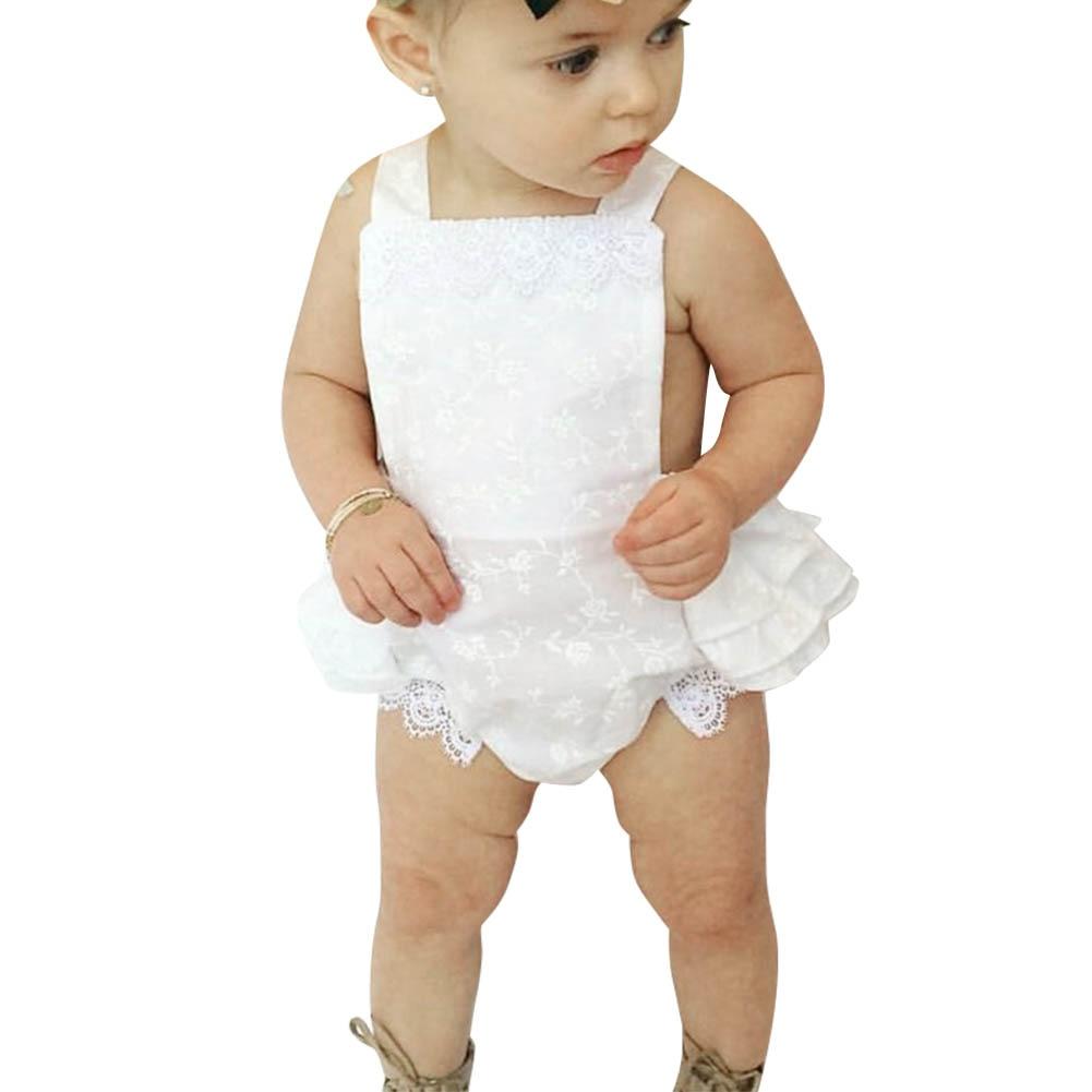 Novo Verão Sem Mangas Macacão Bebê Meninas Sem Mangas Rendas - Roupas de bebê