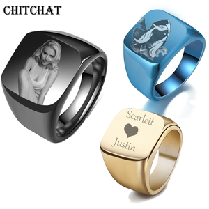 Personalized Customized Engrave Name Photo Ring Stainless Steel Mens Signet Rings Family Photo Male Engagement Wedding Rings(China)