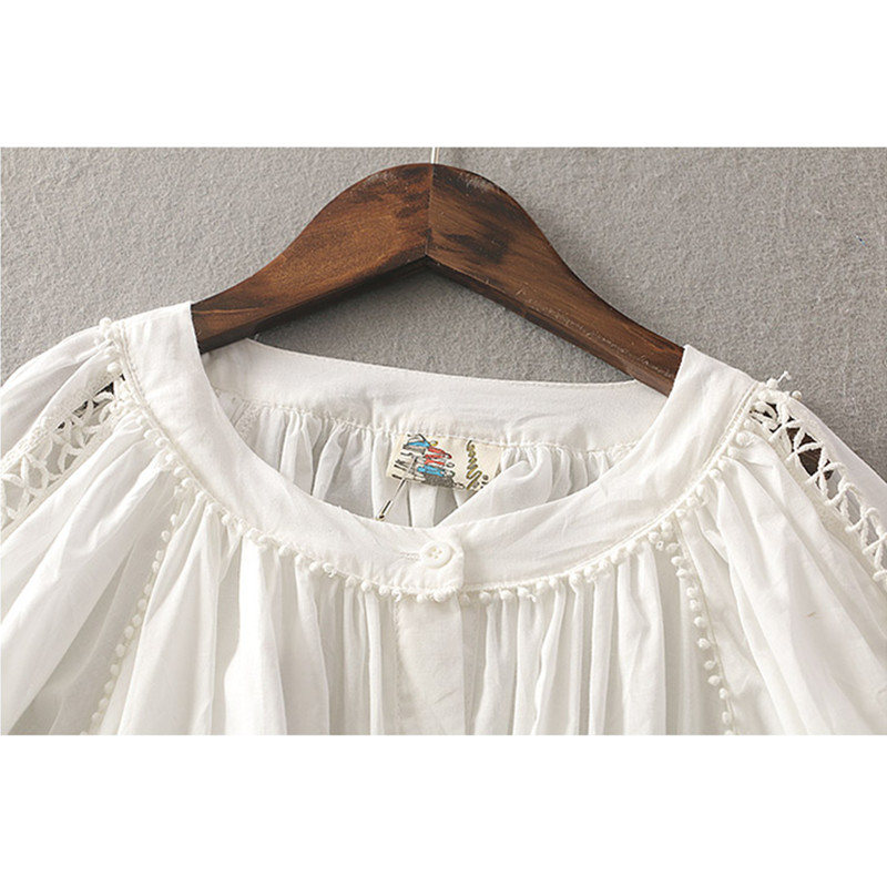 a1c39ed5687 Baby Doll Cute White Shirts Plus Size Women Clothing 2018 Spring Summer  Tops Ladies Hollow Out Half Lantern Sleeve Shirts-in T-Shirts from Women s  Clothing ...