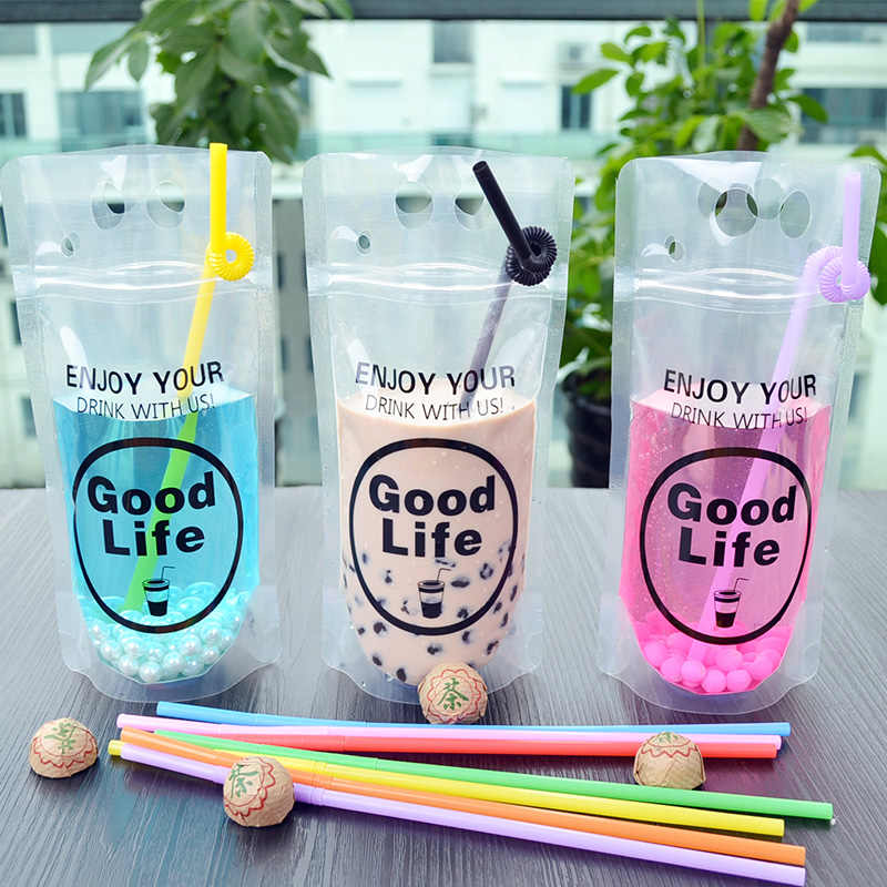 Frost Hot drink bag DIY Vegetable juice plastic bags fruit juice with Hole Handle Self-sealed bags  13*23+4 100pcs