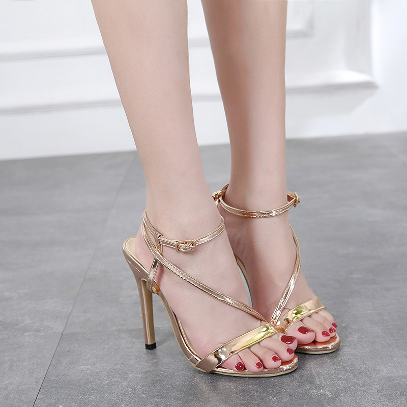 Zapatos Gold Toe 2018 Verano Sandalias Mujer Altos Brillante XuPikOZ