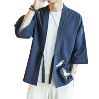 Men Cotton Linen Cardigan Jacket China Embroidery Male Fashion Casual Short Sleeve Kimono Coat Streetwear Hip Hop Overcoat