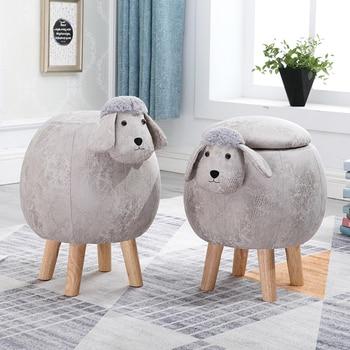 Creative solid wood ball stool lamb household storage fabric sheep