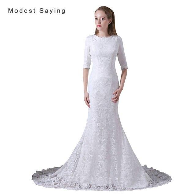 Elegant White Mermaid Half Sleeves Lace Wedding Dresses 2017 Formal