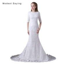 Elegant White Mermaid Half Sleeves Lace Wedding Dresses 2017 Formal Women Long Bridal Reception Gowns vestido de noiva A010