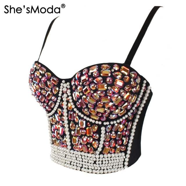 0c653275c placeholder She sModa Gorgeous Rhinestone Bead Bustier Pearls Diamond Push  Up Night Club Bralette Women s Bra