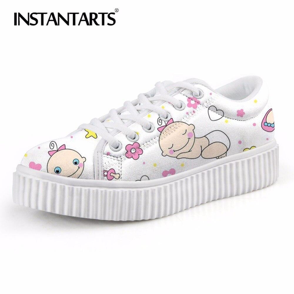 INSTANTARTS Women Autumn Flats Comfortable Lace Up Ladies Shoes 3D Baby Nurse Bottle Print Female Flat Platform Shoe Casual Shoe