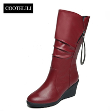 COOTELILI Female Winter Boots Women Leather Motorcycle High Boots Wedges Platform Shoes Woman Casual Botas Mujer High Heels