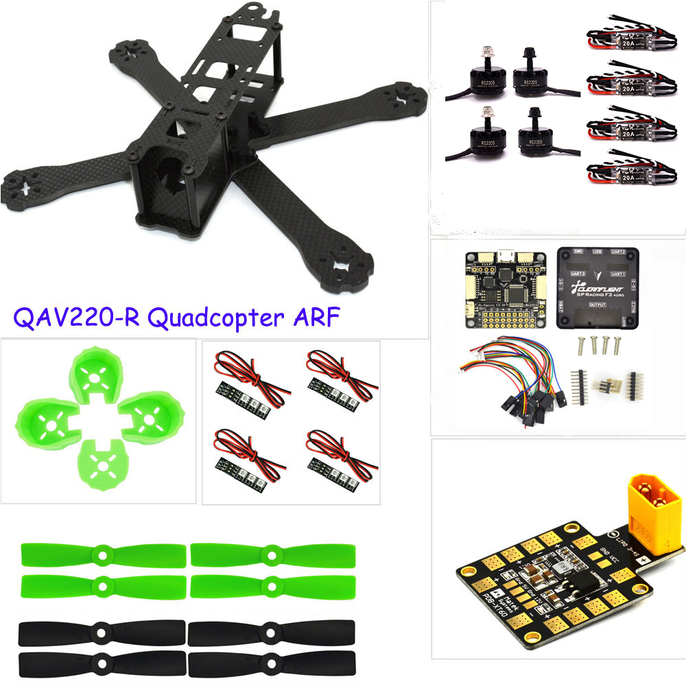 PK rc plane Carbon fiber DIY mini drone  220 220mm quadcopter frame for QAV-R 220+F3 Flight Controller emax RS2205 2300KV Motor carbon fiber mini 250 rc quadcopter frame mt1806 2280kv brushless motor for drone helicopter remote control