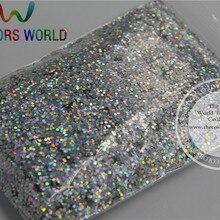 1 мм растворителям Голографический лазерный серебряный цвет Макияж блеск Косметическая пудра для век Уход за кожей лица Средства ухода за кожей косметический пыль 1 лот = 50 г