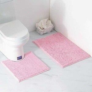 Image 2 - 2 teile/satz Shaggy Anti slip Bad Wc Matten Set Chenille Saugfähigen Bad Teppich Sockel Bad Matte
