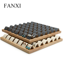 FANXI  Solid Wood Dark Grey/ Beige Earring Display Tray with Microfiber Jewelry Display 49 Seats 	Ear Drop Expositor Organizer