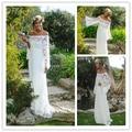 Off-the-плечи с длинным рукавом кружева чешские Boho свадебное платье хиппи стиль свадебное платье халат де