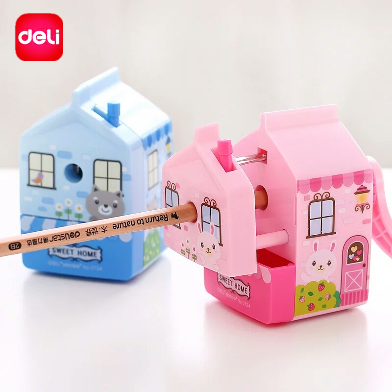 Deli Mechanical Pencil Sharpener Hand Crank School Chancery Stationery Office Supplies Kawaii House Model Gift For Student Kids 2017 1 pcs deli 0616b kids cute cosmetic hand manul house pencil sharpeners mechanical machine 1pc brand stationery supplies